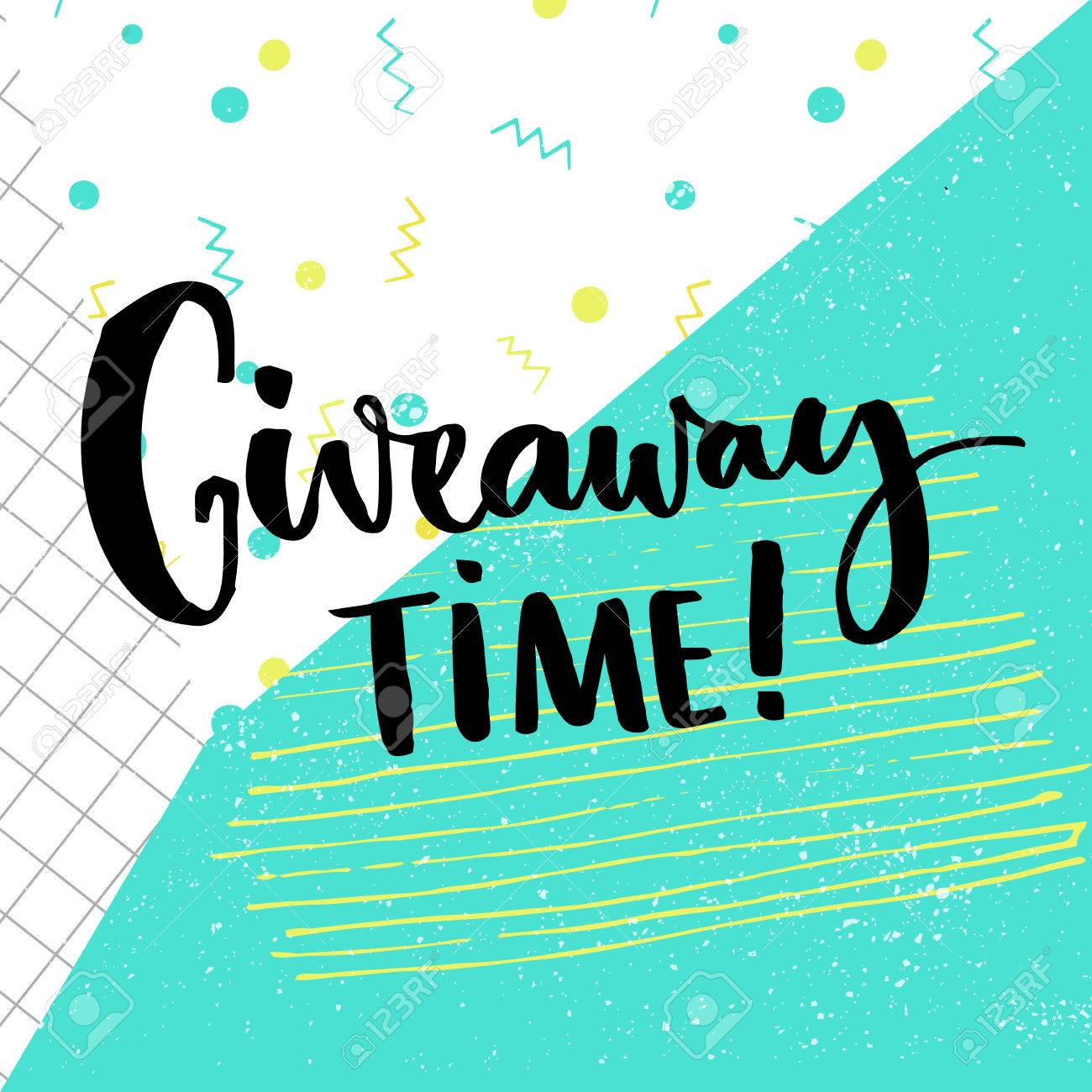 giveaway time text for social media contest brush calligraphy