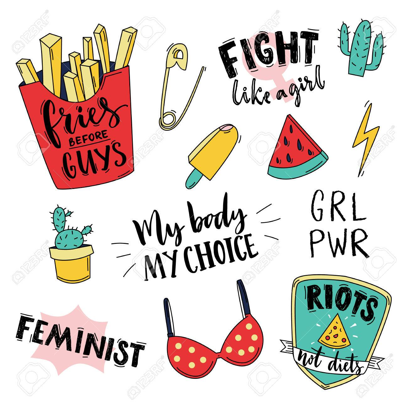 Feminism Slogan And Patches Vector 80s Style Design Vintage