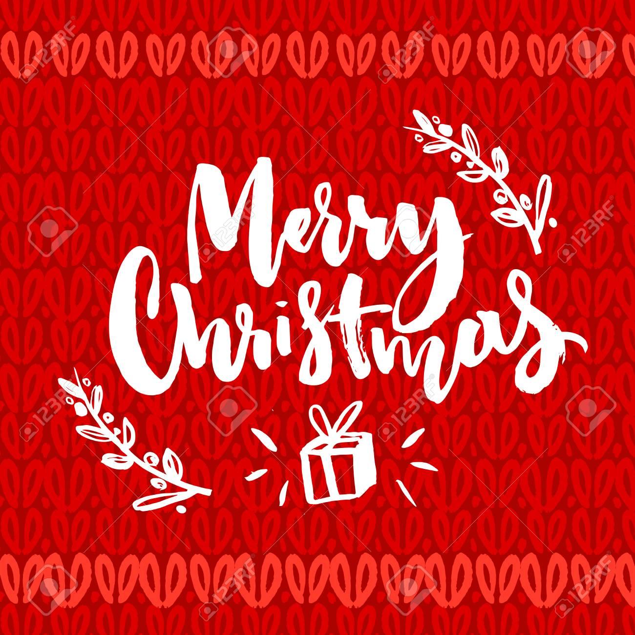 Frohe Weihnachten Worte. Pinsel Beschriftung Text Auf Dem Roten ...