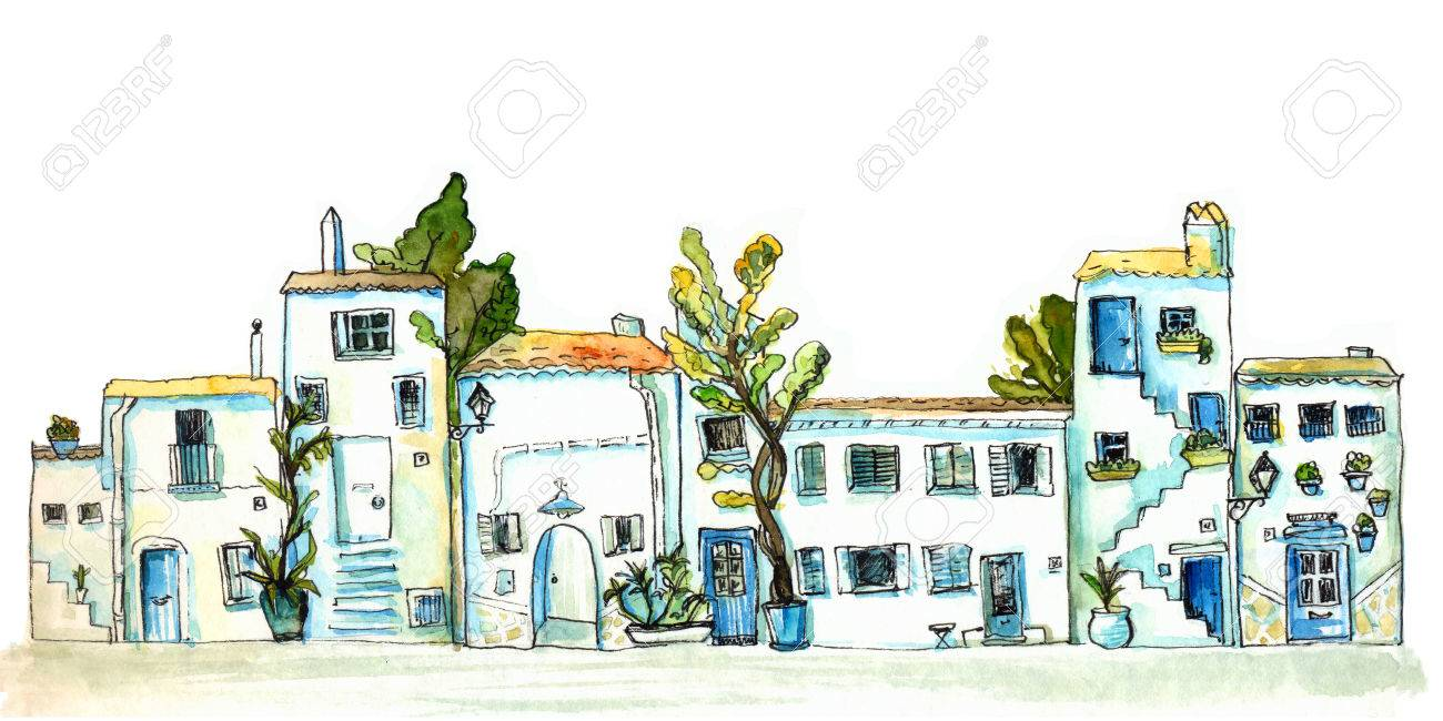 White and blue town street with small houses and trees. Watercolor painting, urban sketch - 67061654