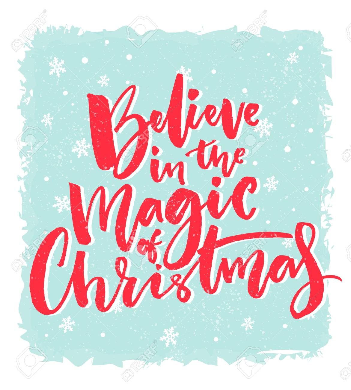 Christmas Card Design. Believe In The Magic Of Christmas ...