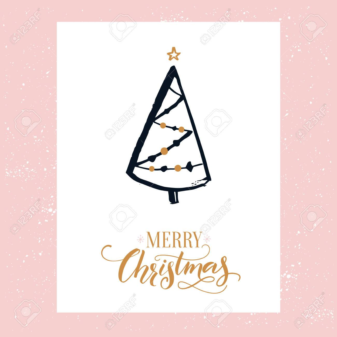 simple merry christmas card design with decorated hand drawn