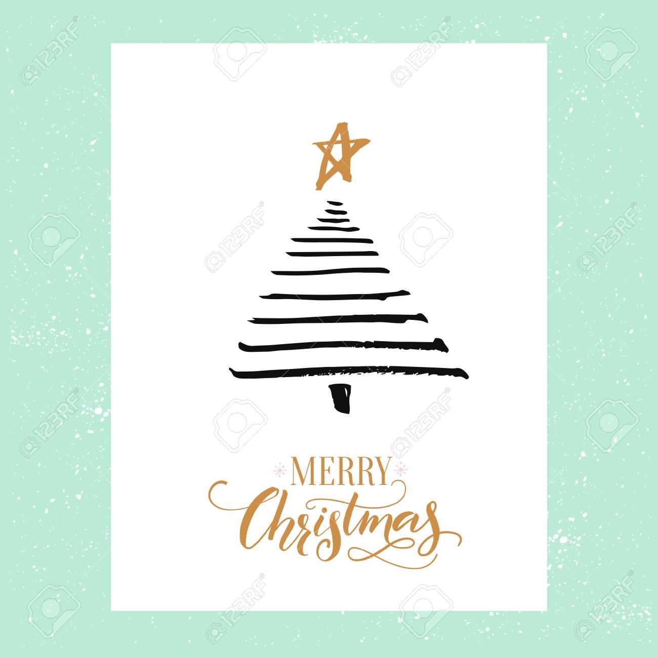 Minimalistic Christmas Greeting Card Design Simple Hand Drawn