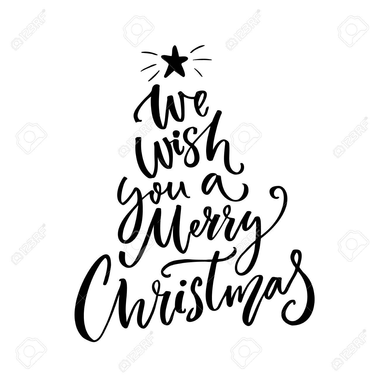 We wish you a merry christmas typography greeting card text brush stok fotoraf we wish you a merry christmas typography greeting card text brush vector lettering for gift tags and overlays m4hsunfo