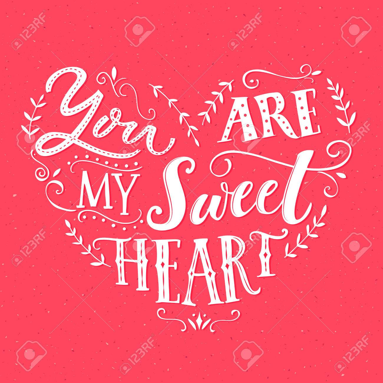 You Are My Sweetheart Valentines Day Card Design Vector Love
