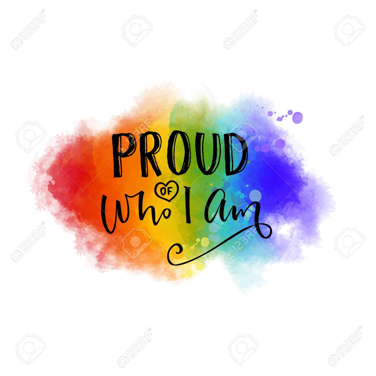 Proud of who I am. Inspiration quote. pride slogan on 6 colors rainbow texture. - 80489597