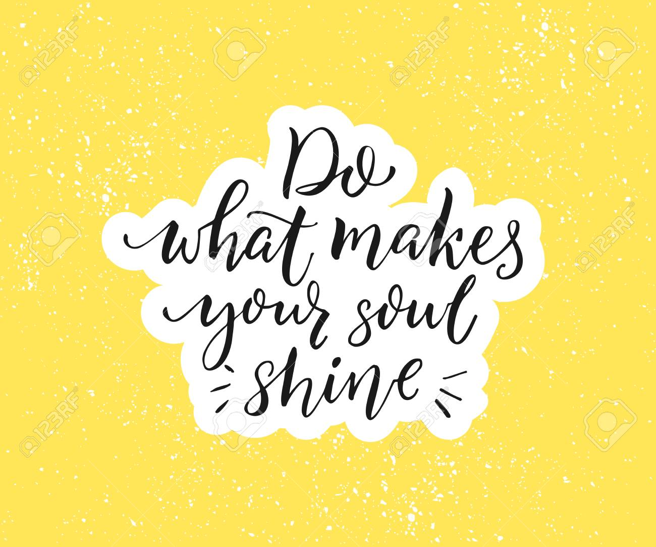 Do what makes your soul shine. Positive inspirational quote. Black brush calligraphy on yellow background. Motivational poster and greeting card vector design - 81628168
