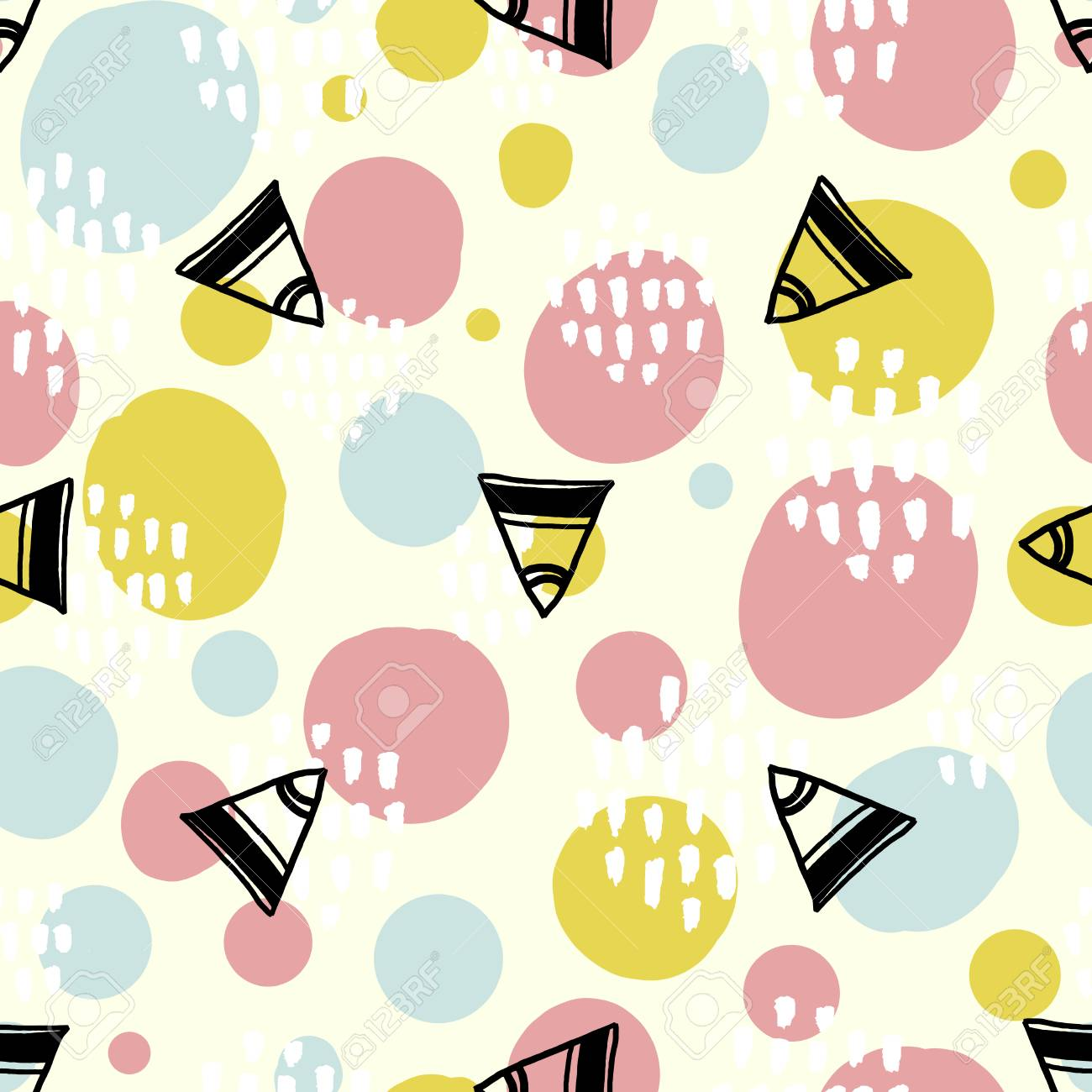 pop background with simple geometry shapes circles and triangles