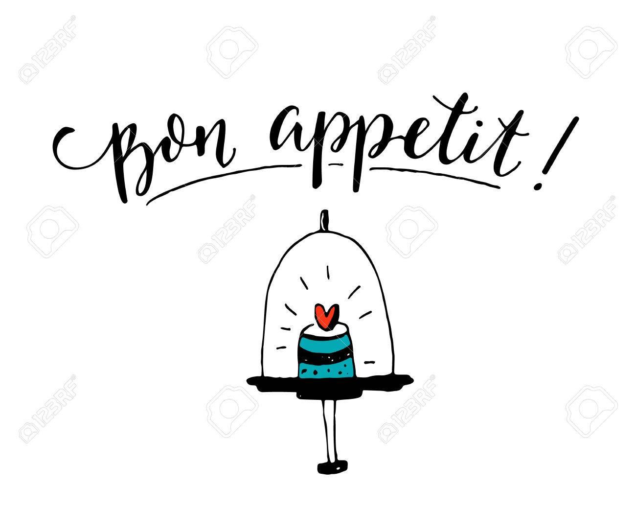 Buen provecho Disfruta tu ida en francés Dise±o del cartel del café con la