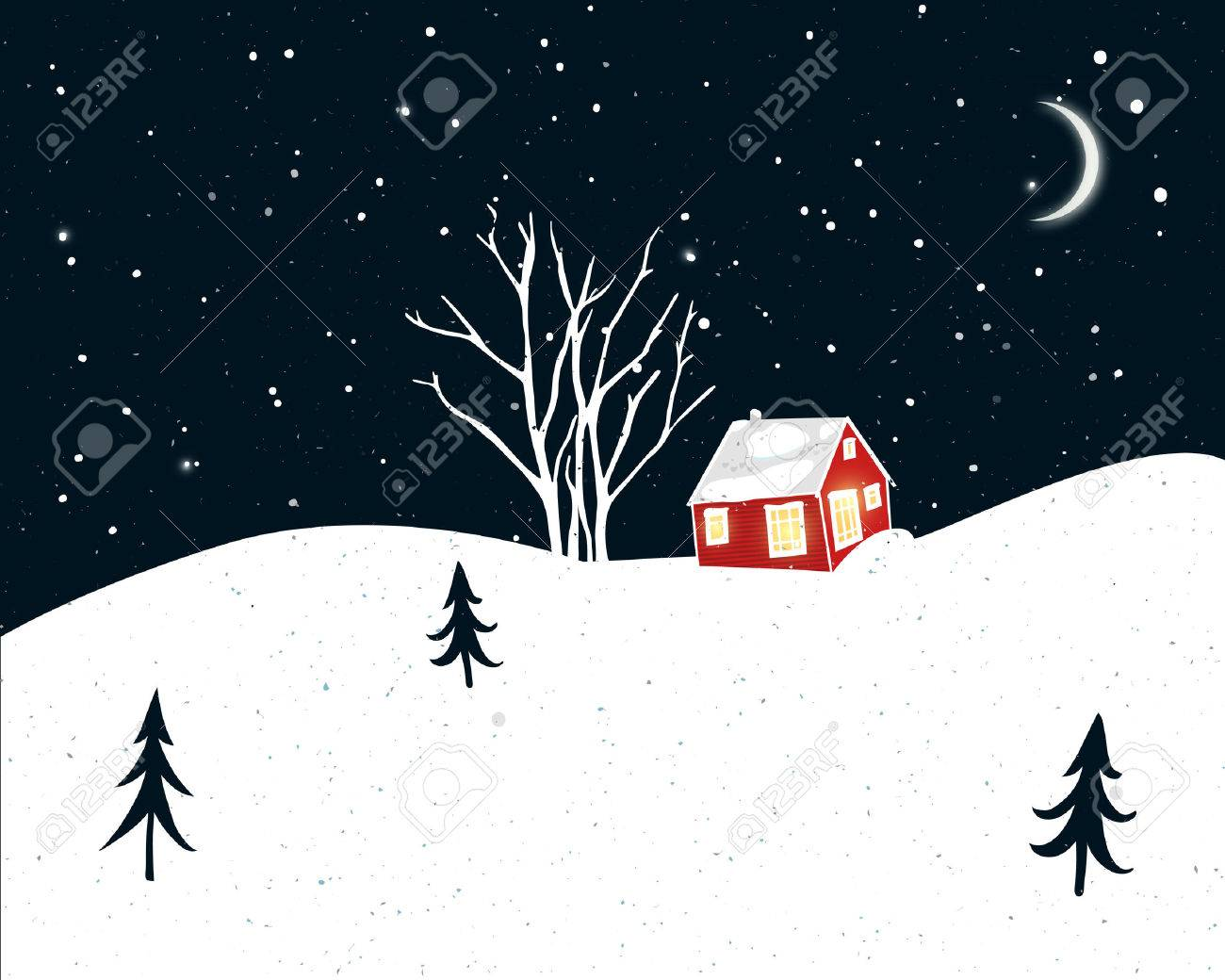 Night Winter Scene With Small Red House, Trees Silhouettes And ...