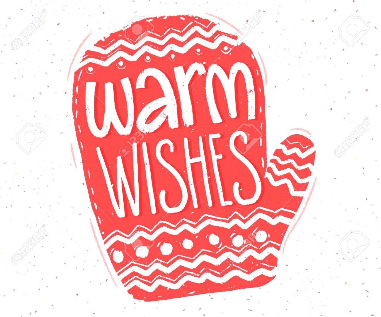 Warm Wishes Hand Lettering In Red Mitten Shape For Christmas