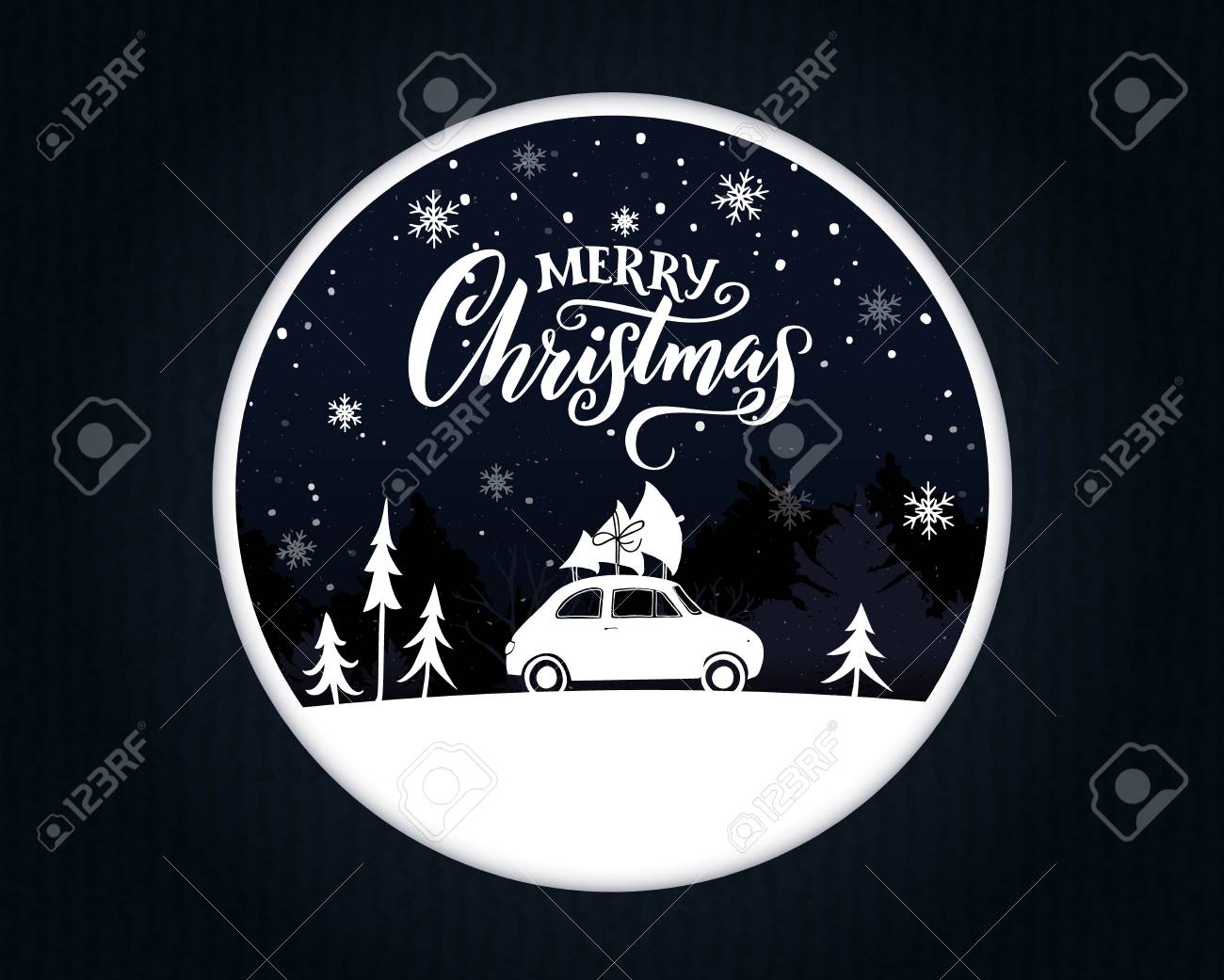 Papercut Christmas card with vintage car carrying a spruce on the top. Merry Christmas text on night scene. - 88462844