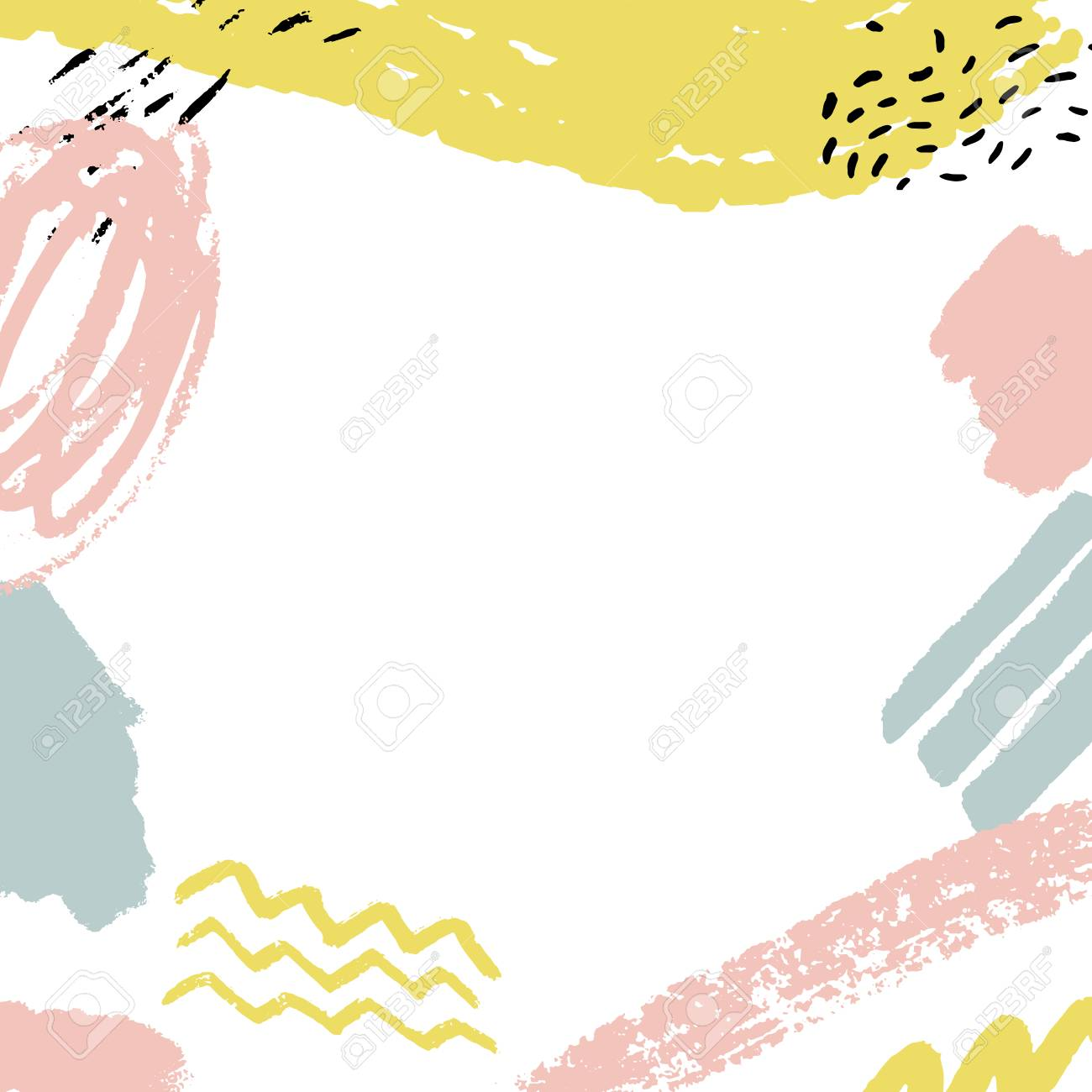 Minimalistic background with paint brush strokes. Hand drawn texture with white, pastel pink and blue colors - 89169150