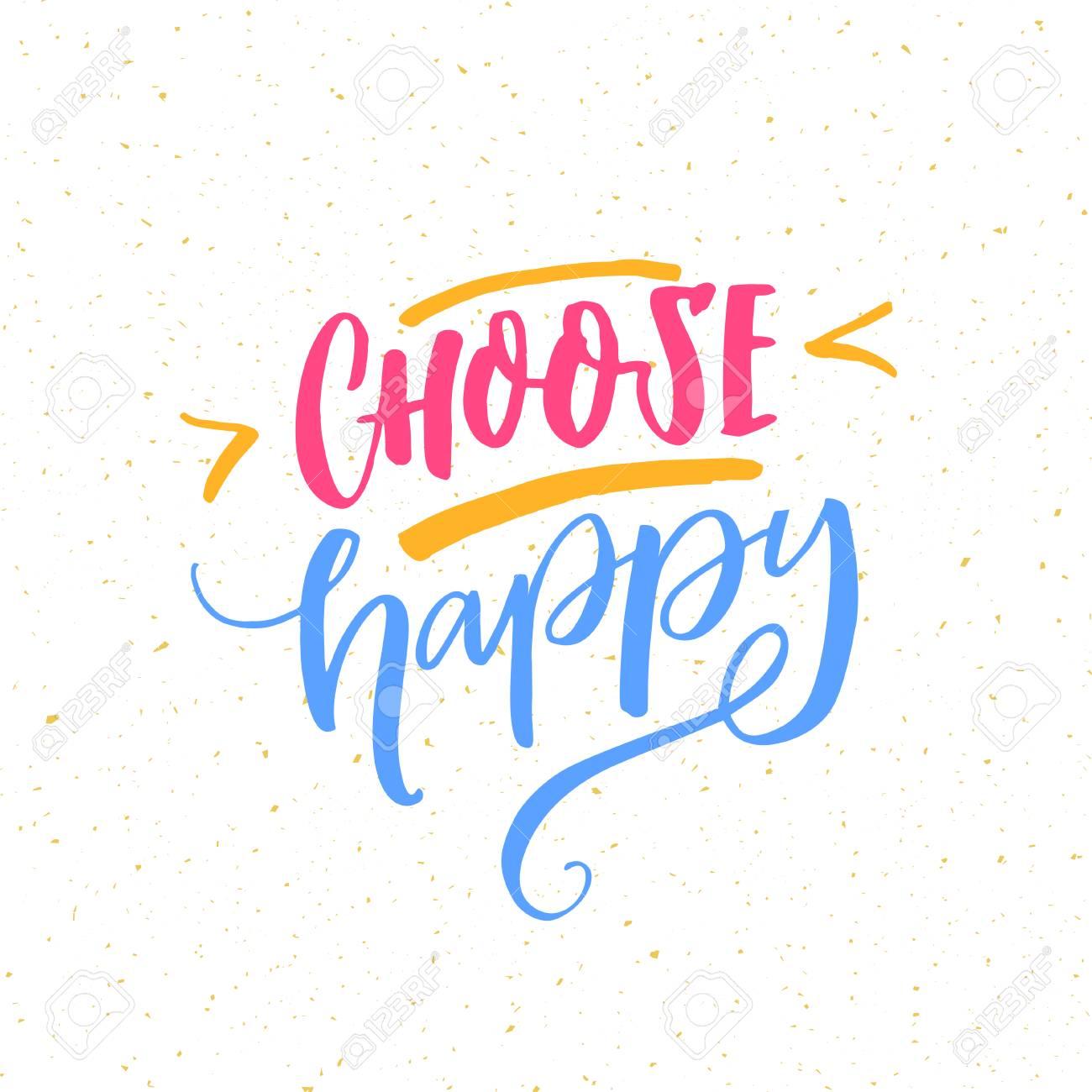 Choose Happy Positive Quote Poster Motivational Inscription