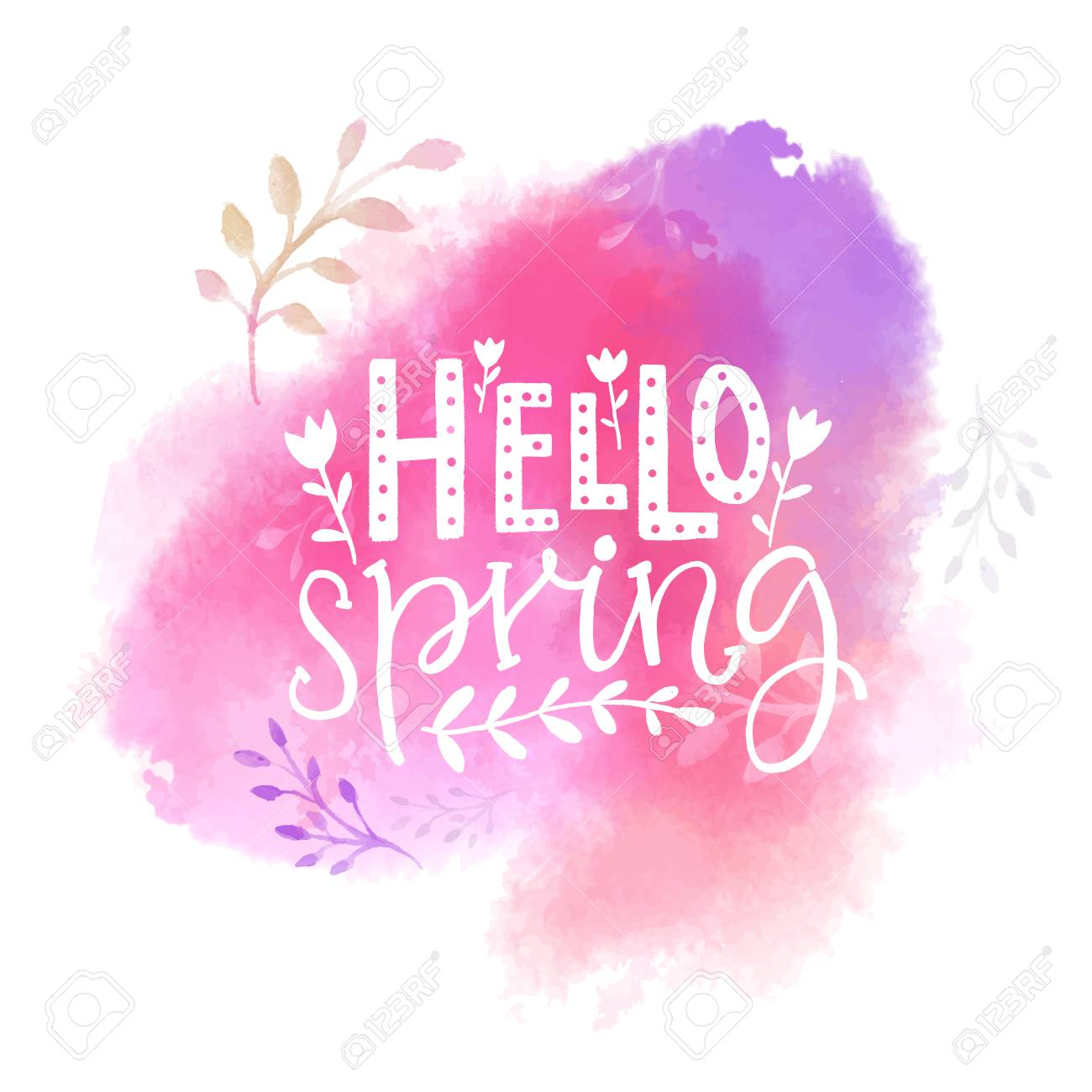 Hello Spring Text On Pink Watercolor Swash Royalty Free Cliparts Vectors And Stock Illustration Image 94025732