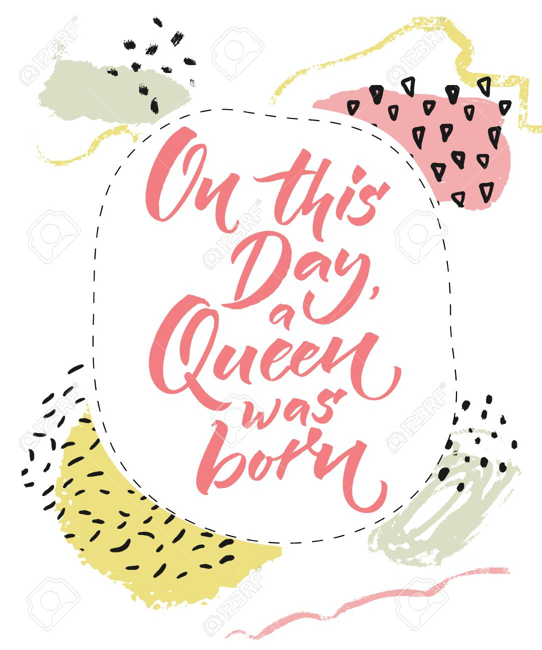 On This Day A Queen Was Born Happy Birthday Card For Girls Brush Calligraphy
