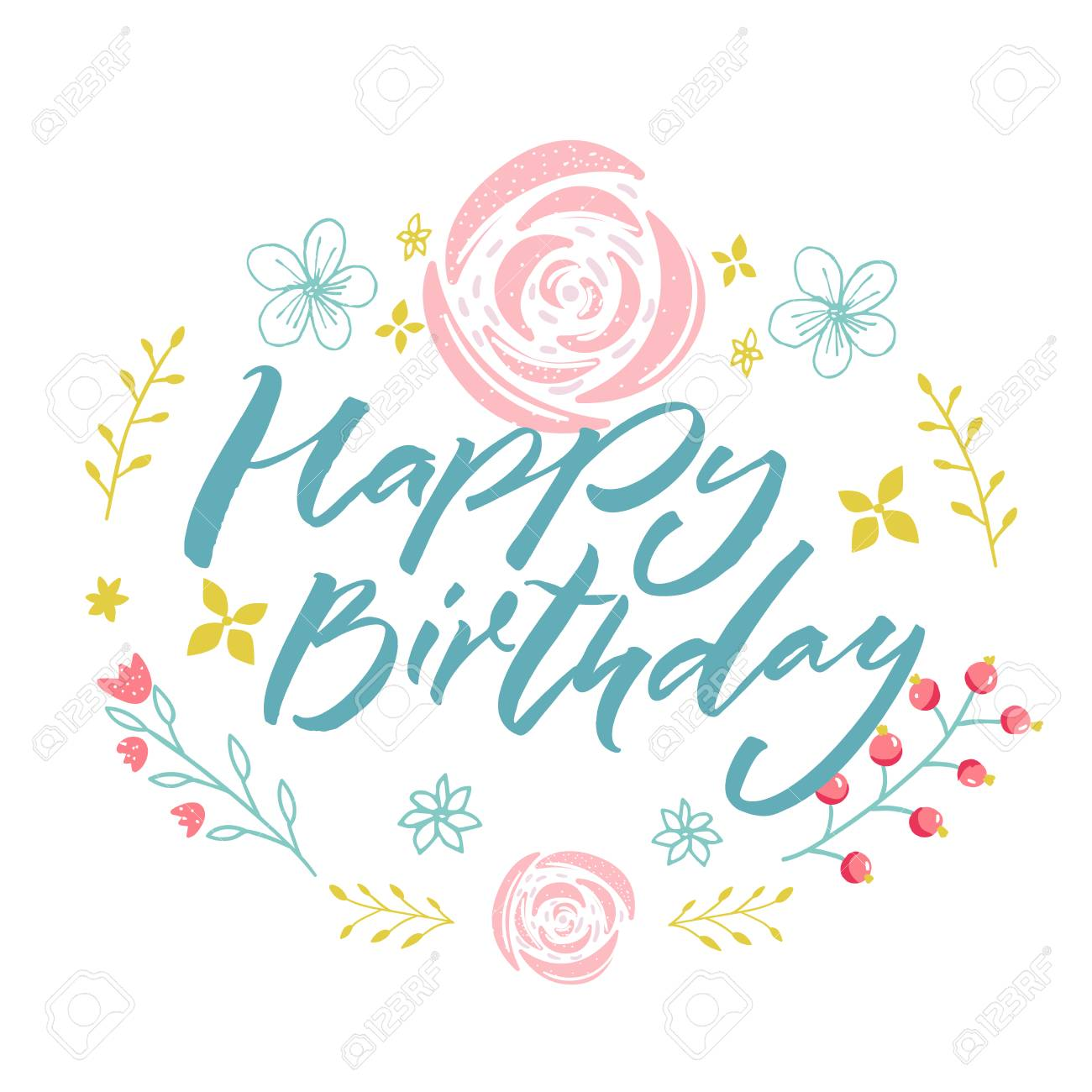 Happy Birthday - blue text in floral wreath with pink flowers and branches. Greeting card template. - 97541106