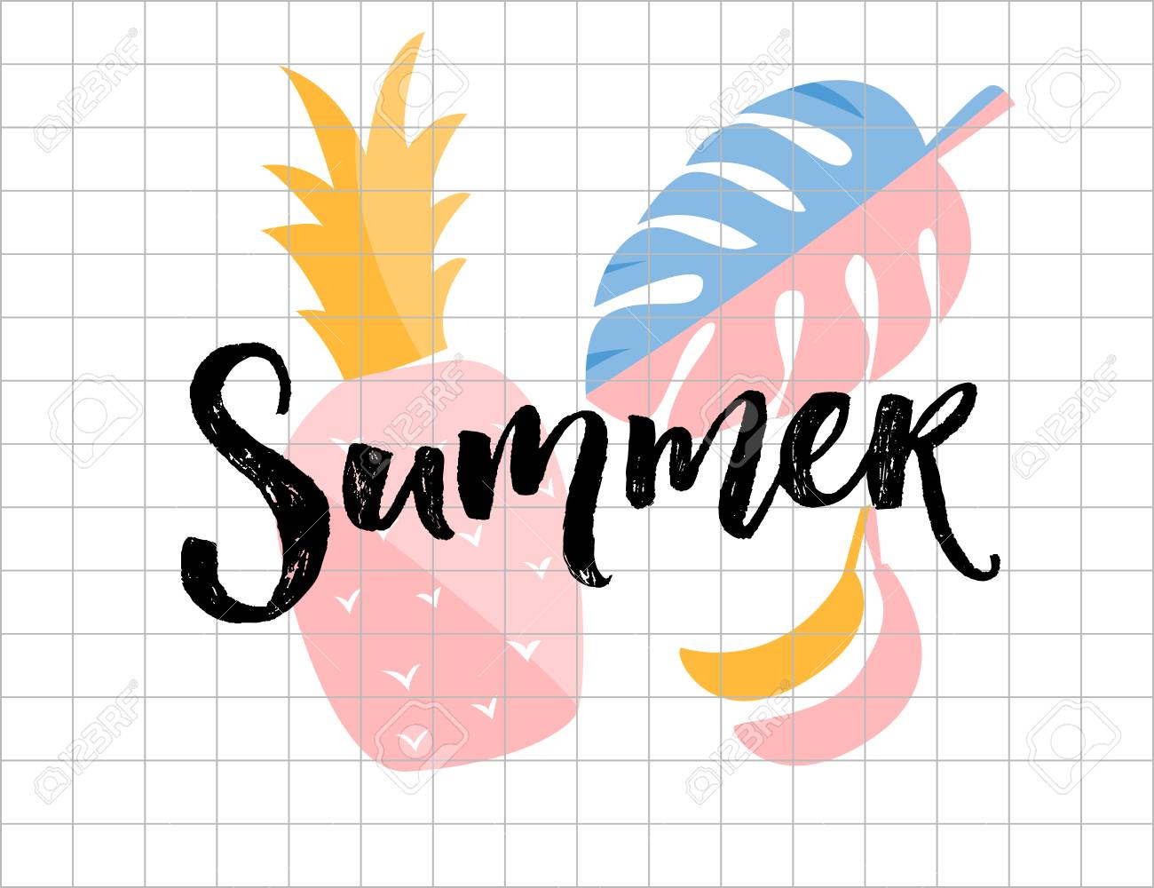 Summer poster. Calligraphy word with pineapple, monstera leaf and banana illustrations. - 101646277