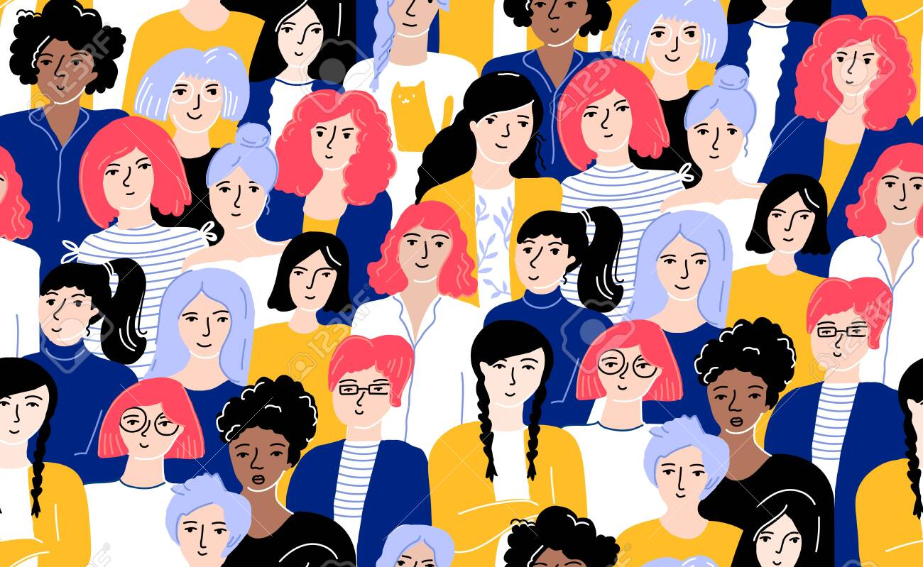 Crowd of women seamless pattern. Different young females in yellow and blue clothes with bright colored hair. Tileable background for International Womens Day, concept of empowrement and sisterhood. - 139272235