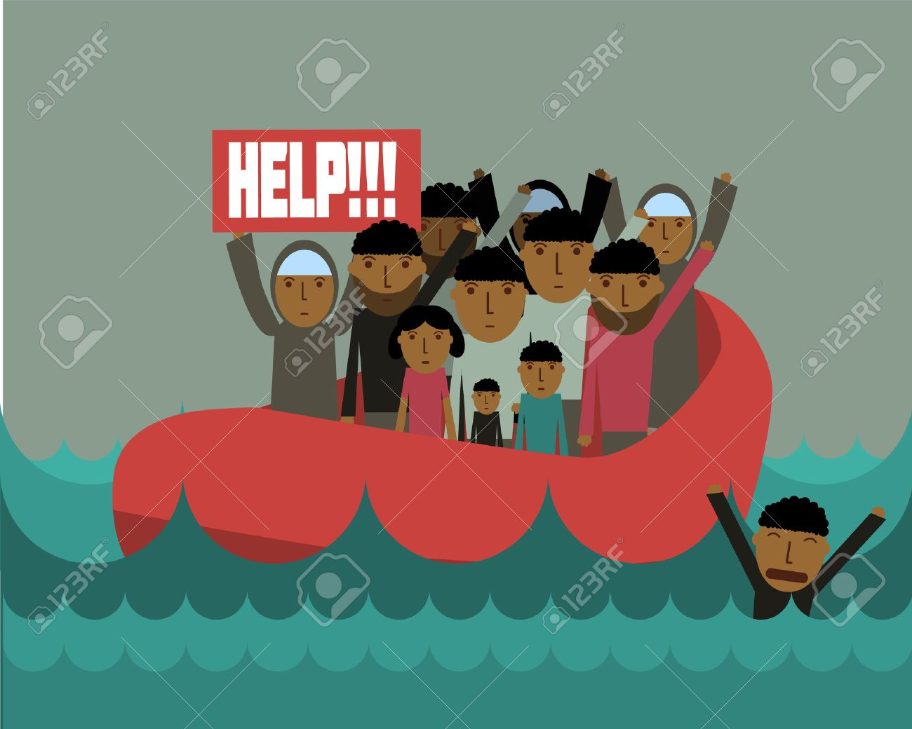 Syrian refugees on boat. Syrian crisis. tragedy of refugees. Civil war in Syria Stock Vector - 44814139