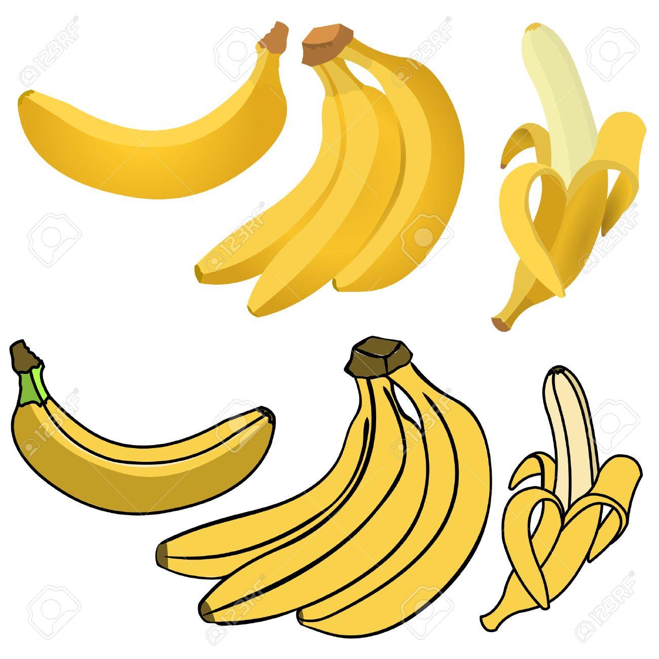 Set of Yellow Bananas. Single Banana , Peeled Banana, Bunch of Bananas. - 46627268