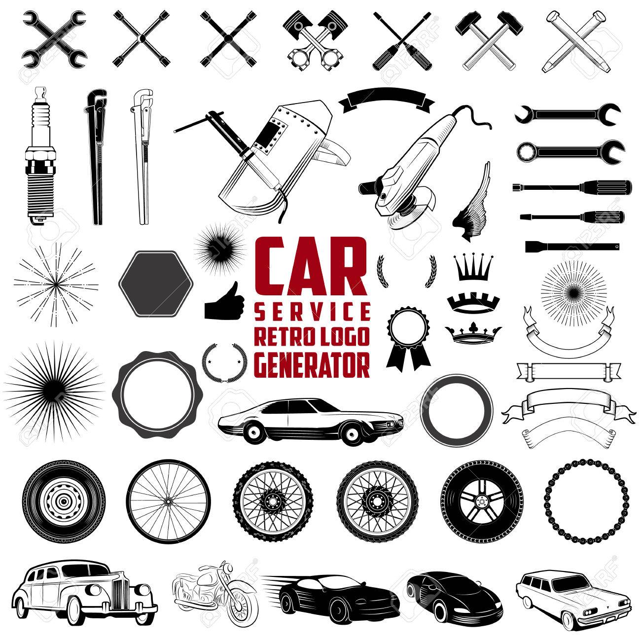 Car Service Retro Logo Generator is set of icons, badges, ribbons