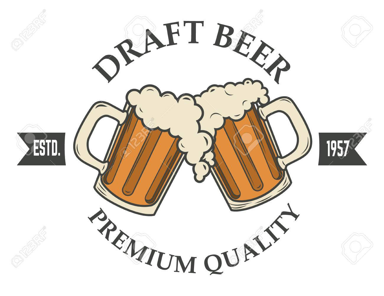 draft beer vector illustration. icon,badge or label design template. Pab or bar icon. - 47555440