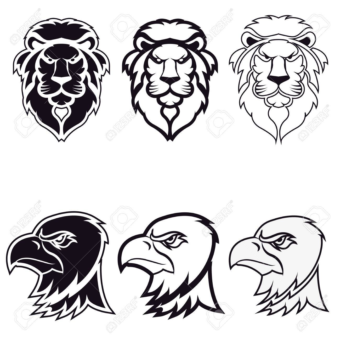 Lion And Eagle. Icon,badge Or Label Design Template. Vector ...