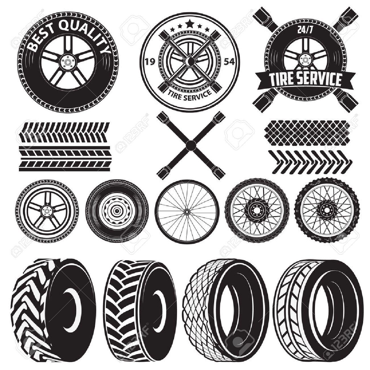 Car Service Labels. Tire Service Label. Auto Parts. Set Of Design ...