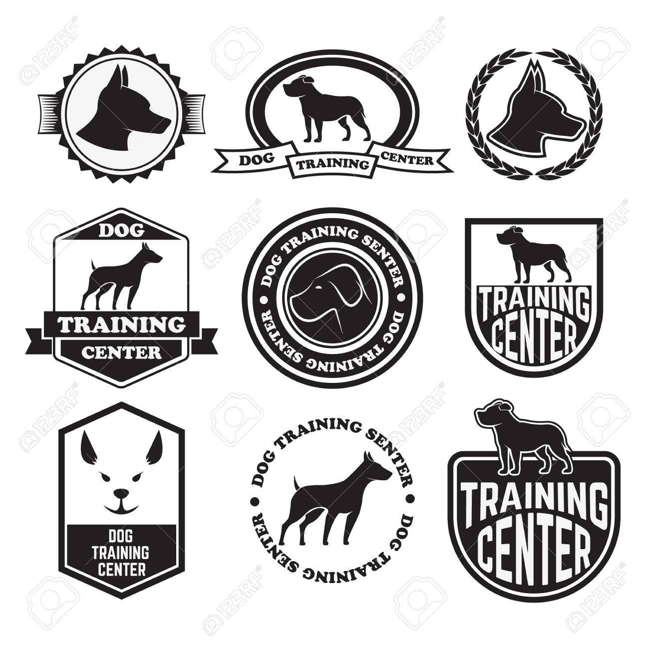 Pet club, dog center, veterinary clinic, emblems and badges set