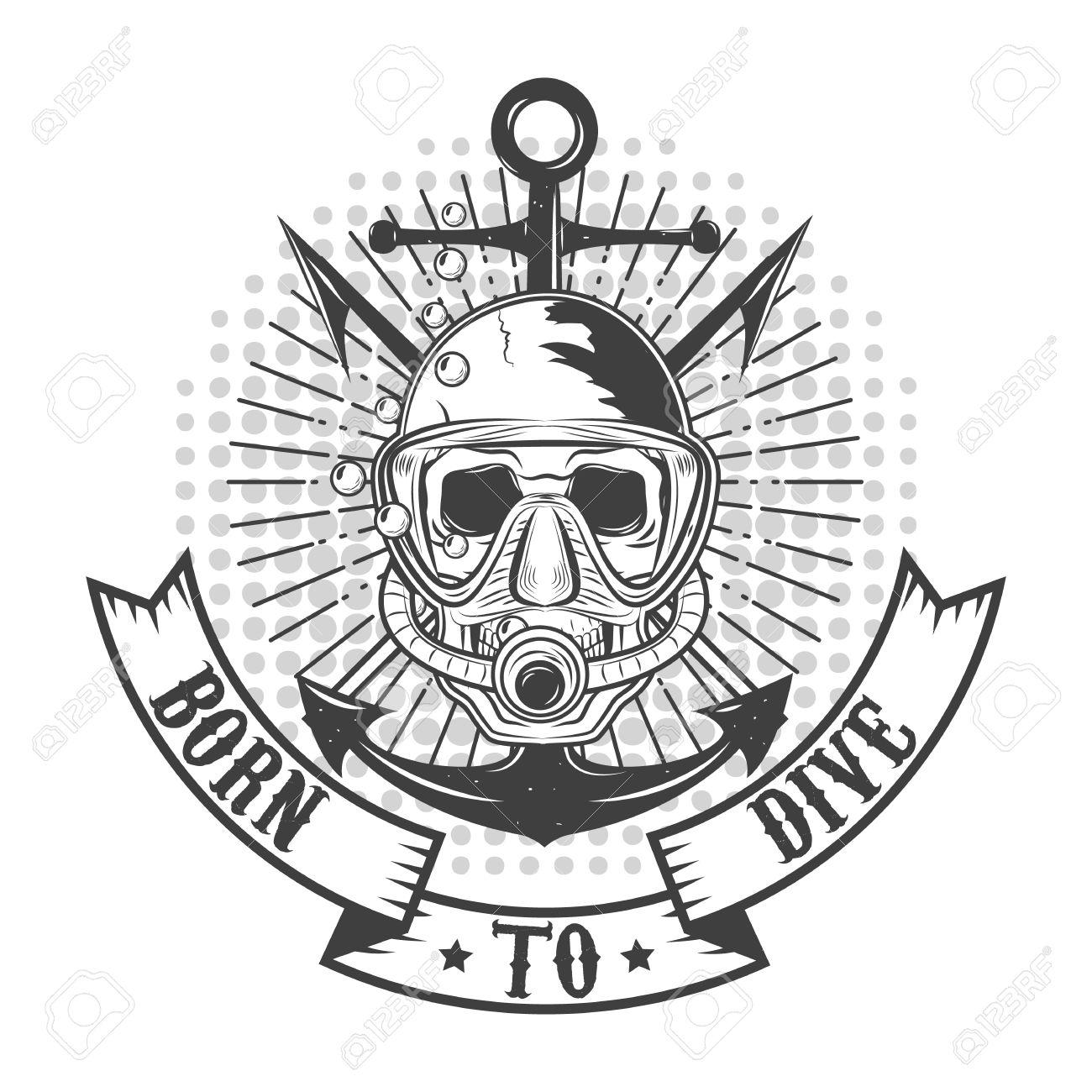 Diver-Logo Im Vektor. Diver Schädel. T-kurzen Oder Etikett-Design ...