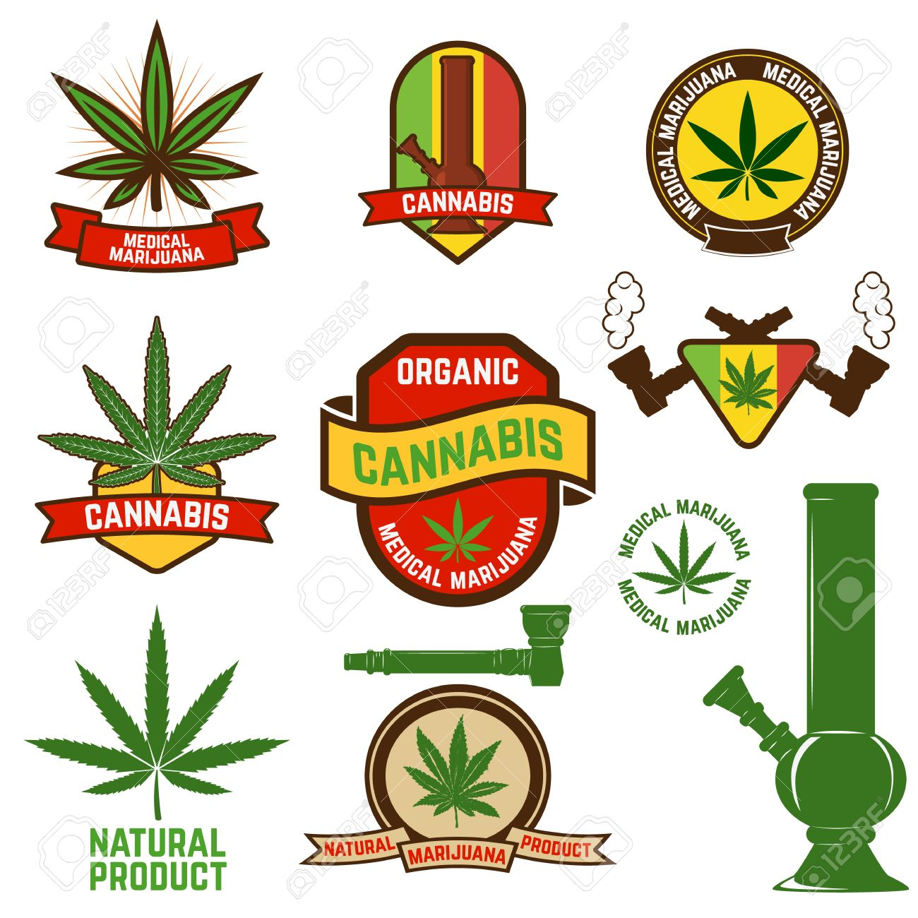 set of cannabis labels and badges cannabis leaf decorative jamaican style stamps medical marijuana
