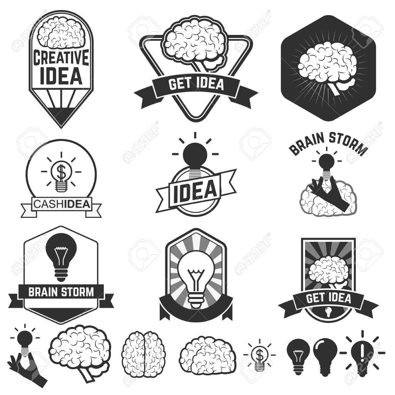 Set of idea brain designs badges  Label of representations of