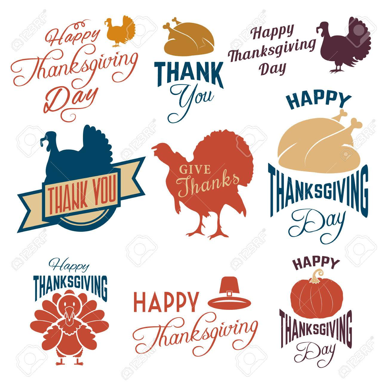 Set Of Thanksgiving Clip Art Vector Tags Labels And Badges
