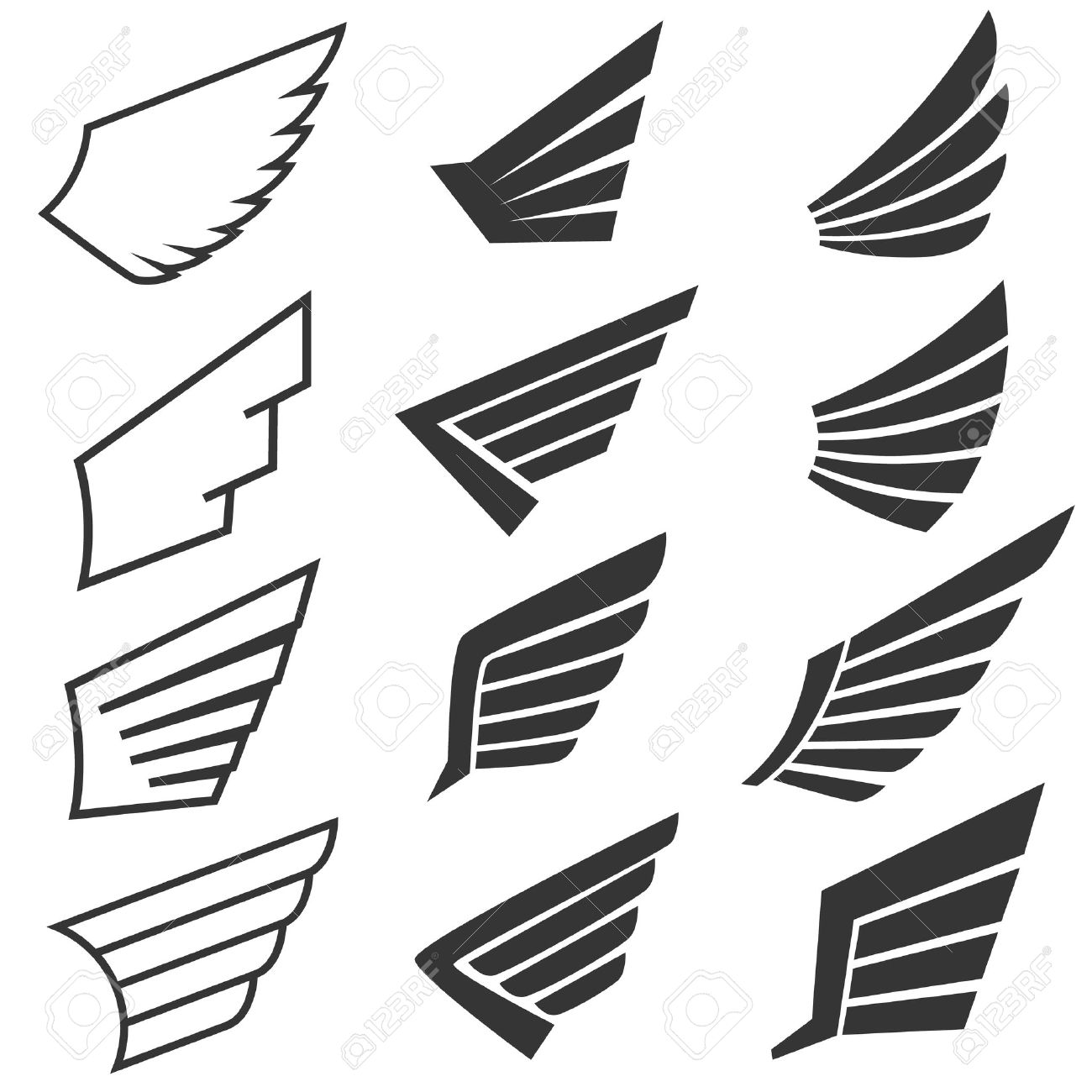 Wings set on white background. Heraldic wings. Element for logo,label and emblems design. Vector illustration. - 48136145