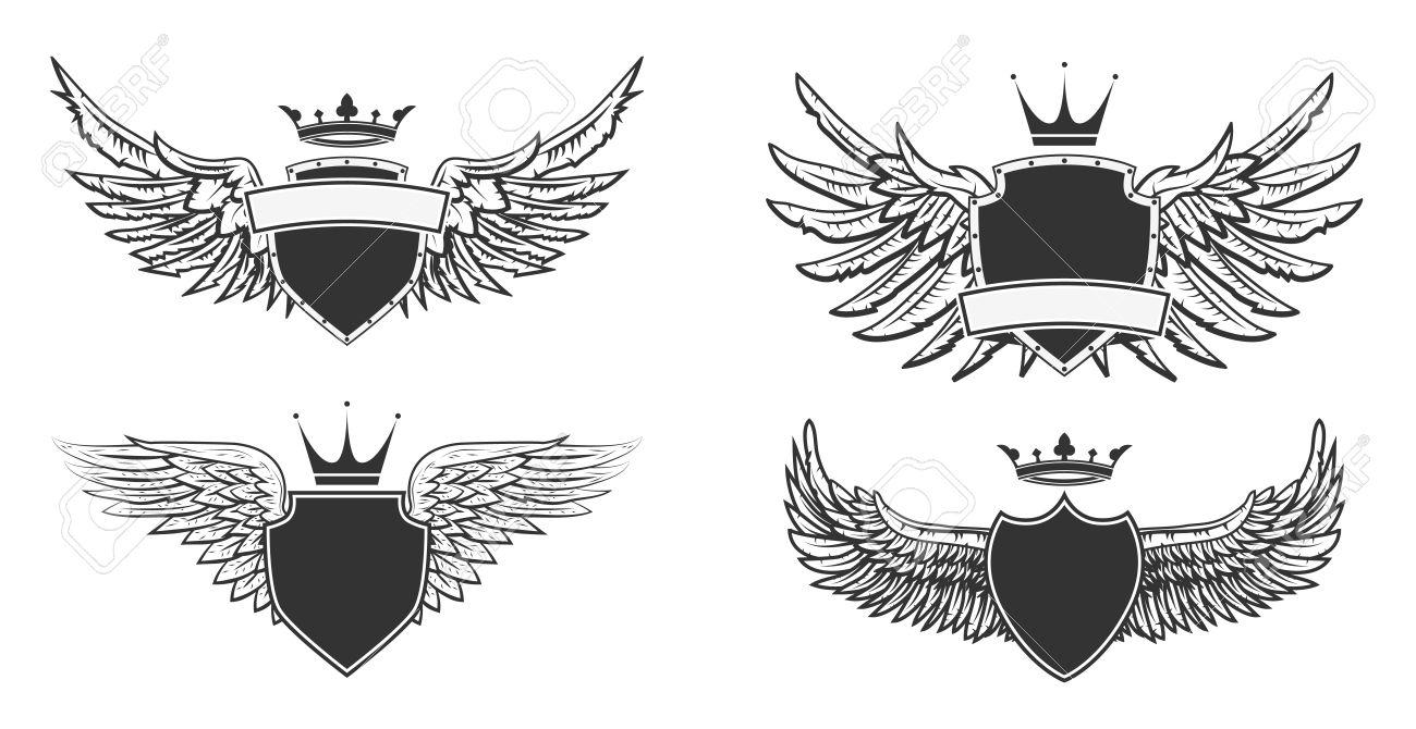 Wappen Mit Flügeln. Heraldische Design-Vorlage. Vektor-Illustration ...