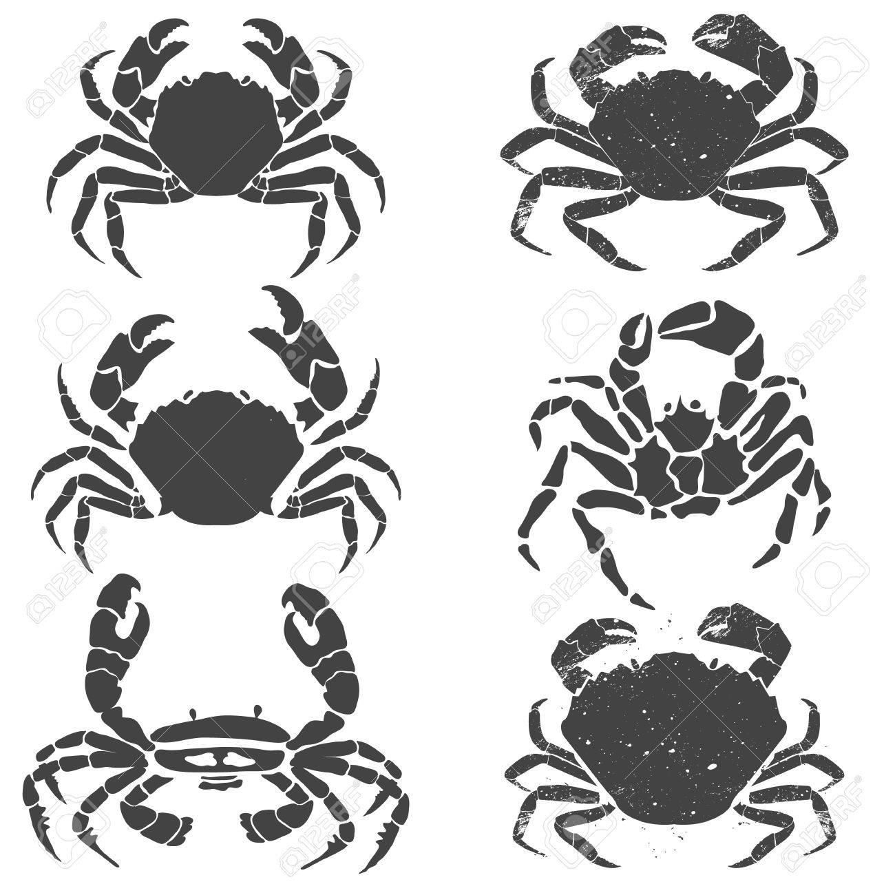 Set of the crabs. Label or emblem design template. Seafood. Vector illustration. - 48136302