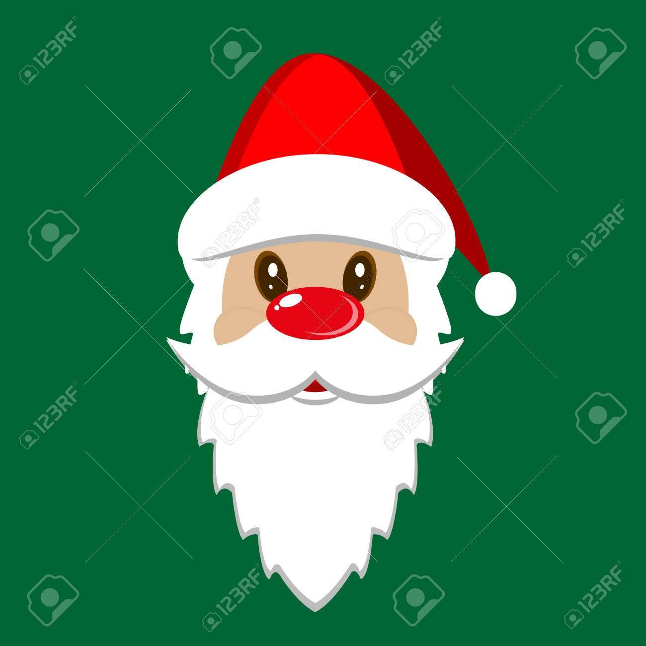 Santa Claus Icon. Santa Claus Face. Christmas Card Template ...