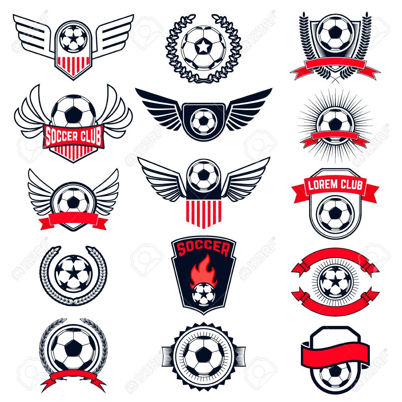 Set of Soccer logos, badges and design elements. Collection symbol of football: soccer ball, heraldry, insignia. Vector illustration. - 49541012
