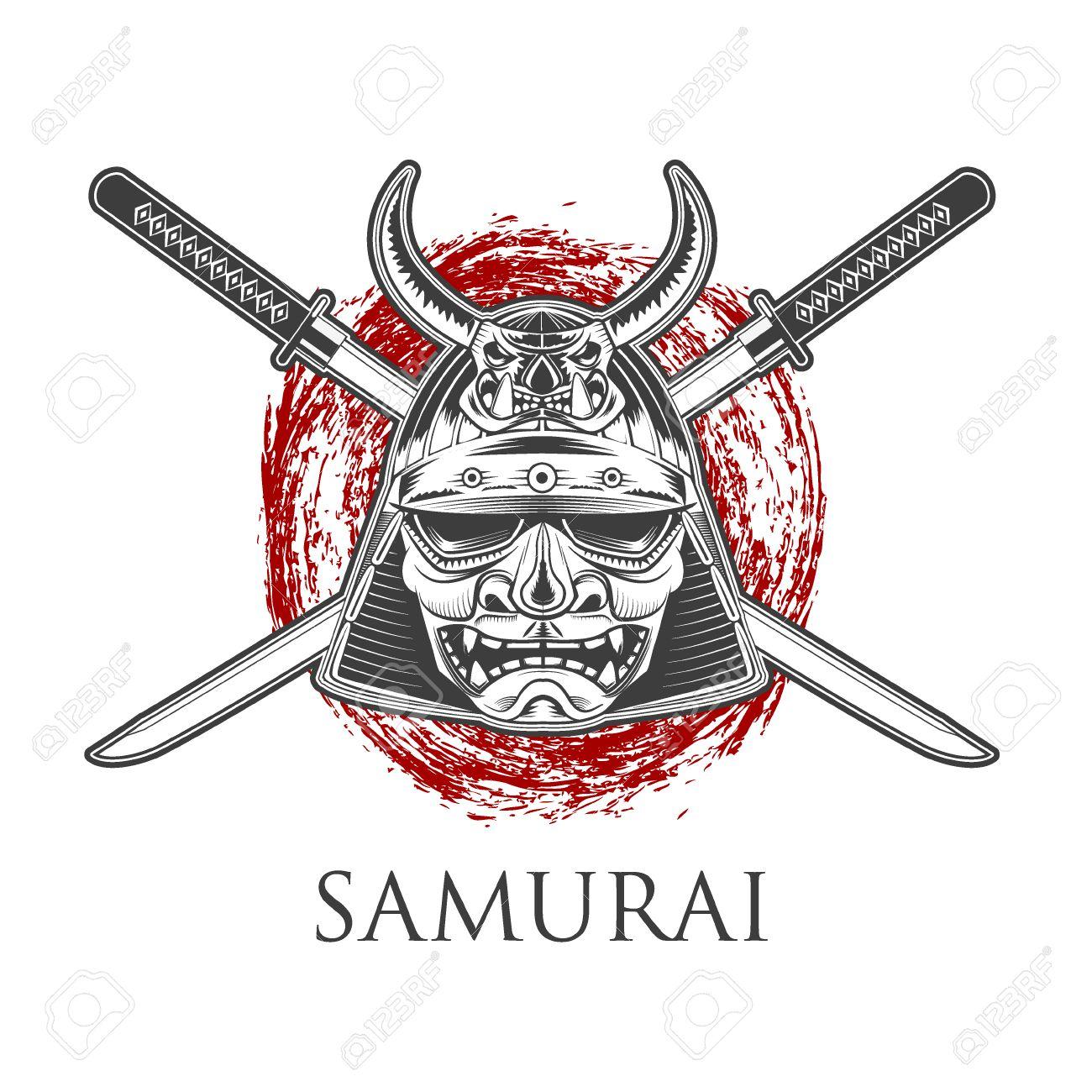 Samurai Warrior Mask With Katana Sword Labelbadge Template