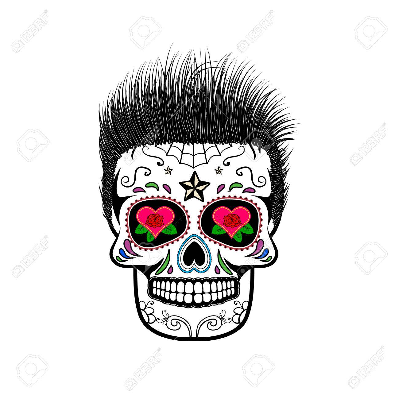 Sugar Skull With Hair. The Day Of The Dead. The Template For ...