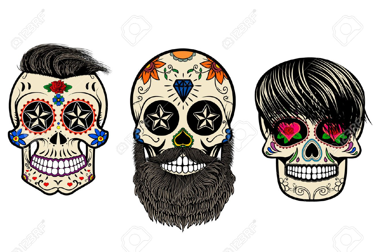 Three Sugar Skulls With Hair And Beards. The Day Of The Dead ...