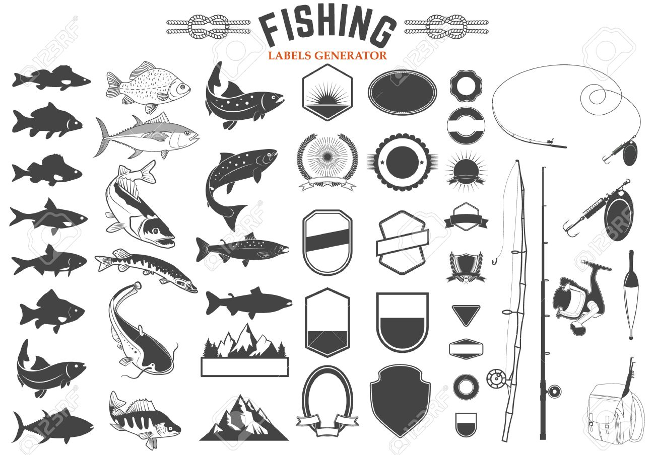 set of fishing club logo templates and design elements fish