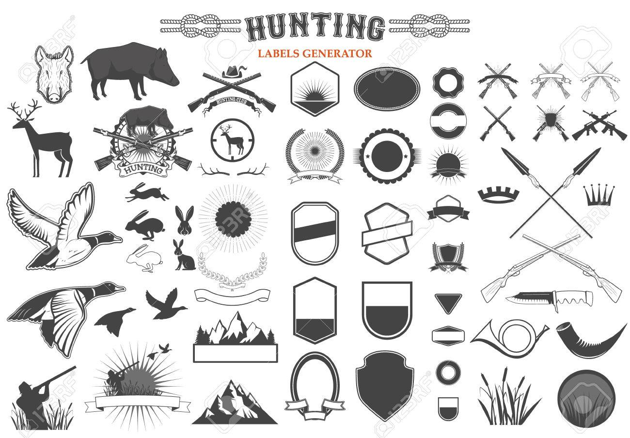 Set Of Hunting Label And Badges Templates And Design Elements