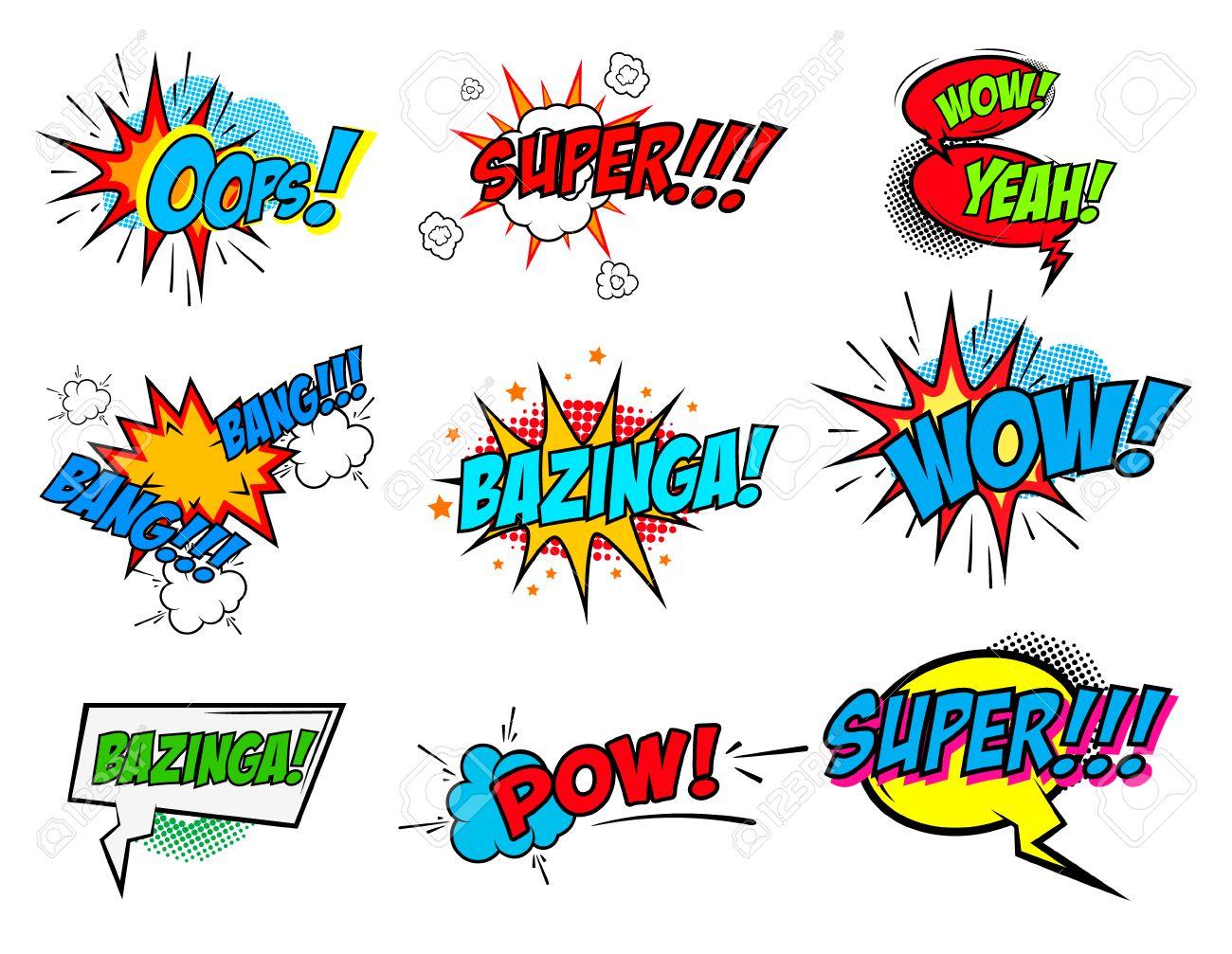 Set of comic text, Pop art style phrases. Waw, Pow, Bang-Bang, Super!, Bazinga, Oops! Vector design elements. - 51749172