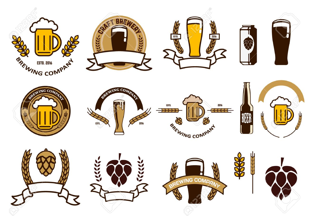Set of craft beer emblems and logo templates. Retro vector design graphic element, emblem, logo, insignia, sign, identity, logotype, poster. - 51749175