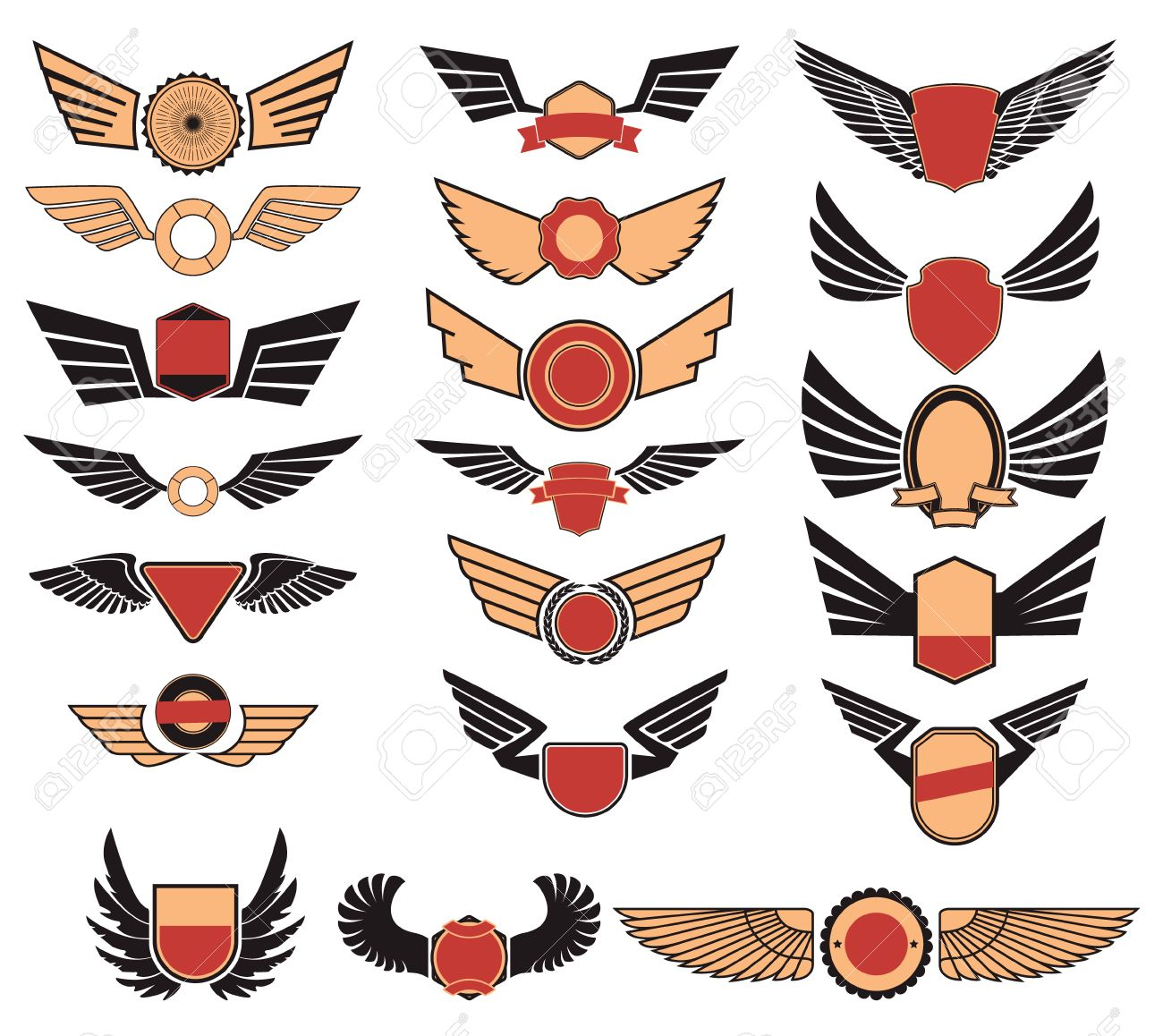 aviation insignia wing set set of the emblems with wings retro