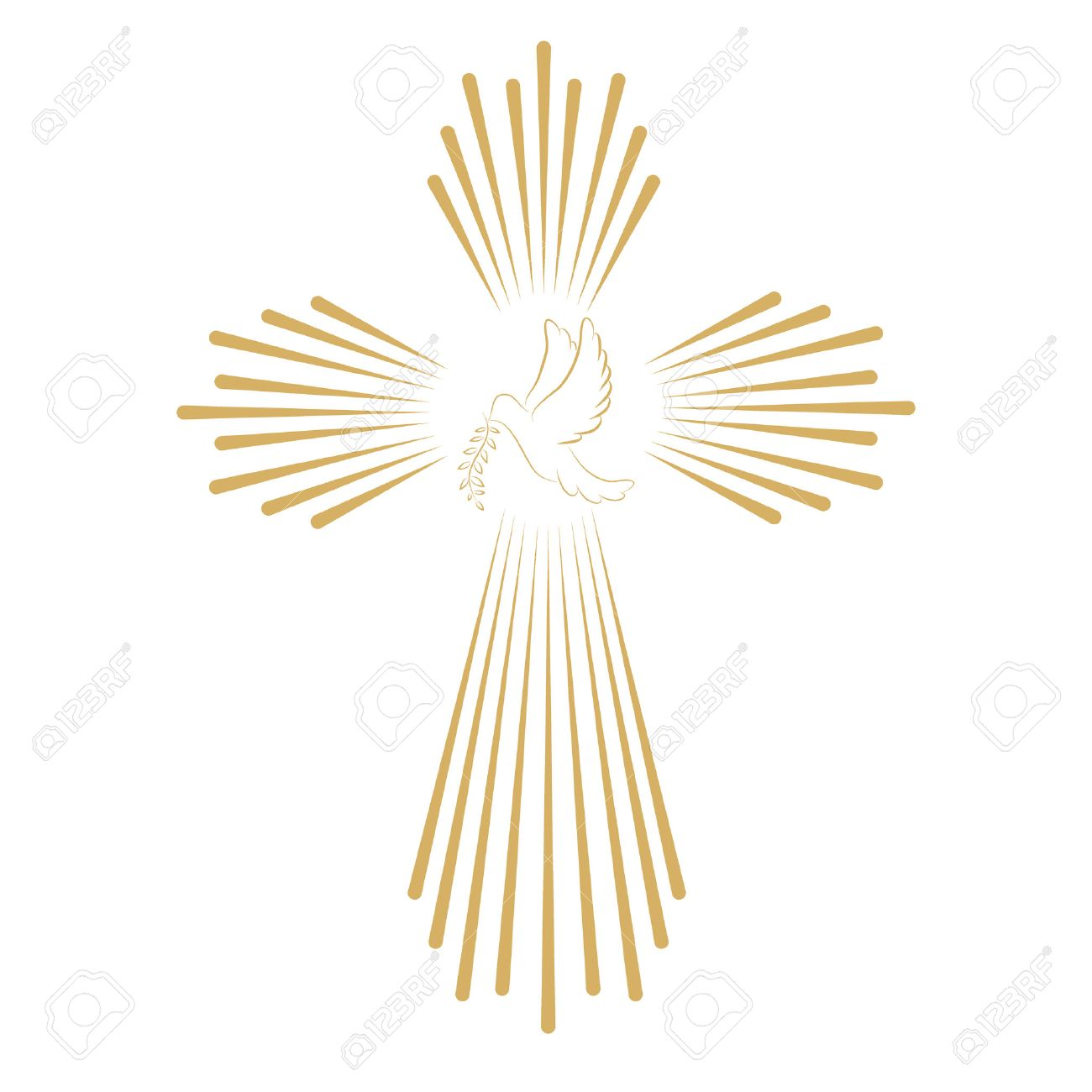 Cross with the dove. Church emblem template. Vector design element. - 53388810