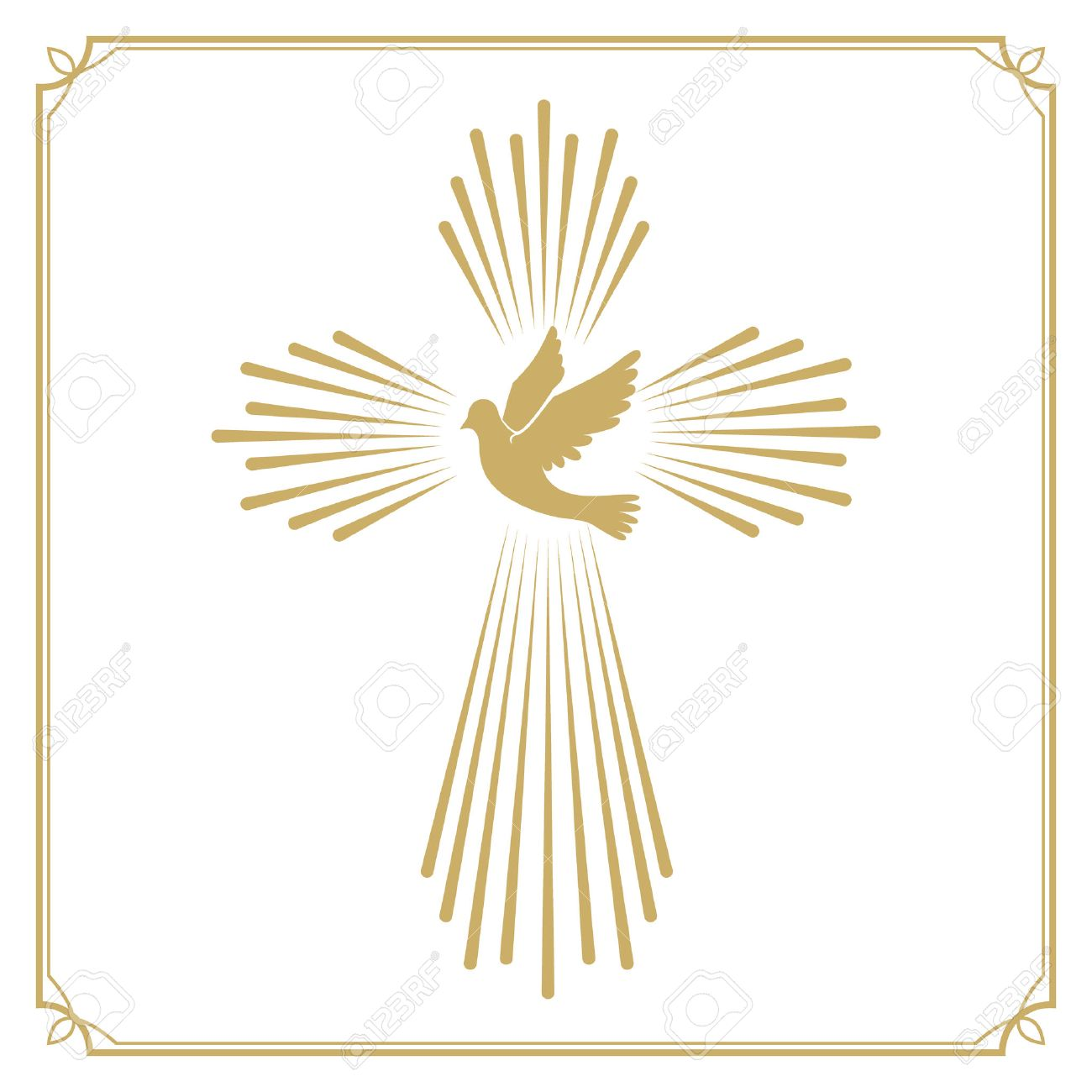Cross with the dove. Church emblem template. Vector design element. - 53392540