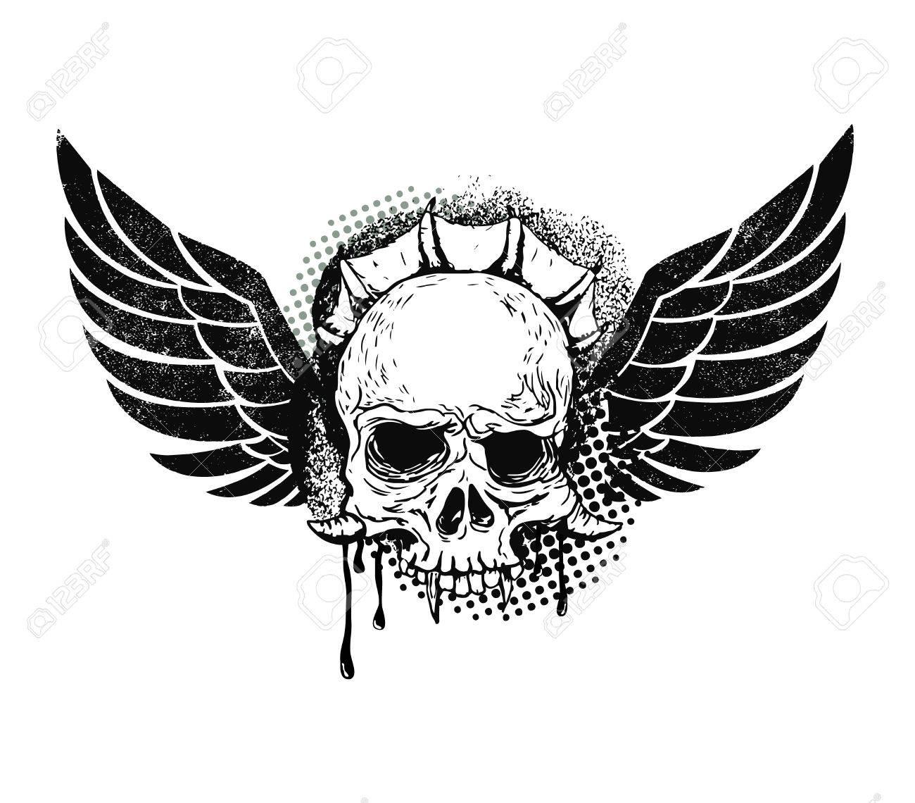 Monster Totenkopf Mit Flügeln Hand Zeichnen Totenkopf Mit Flügeln